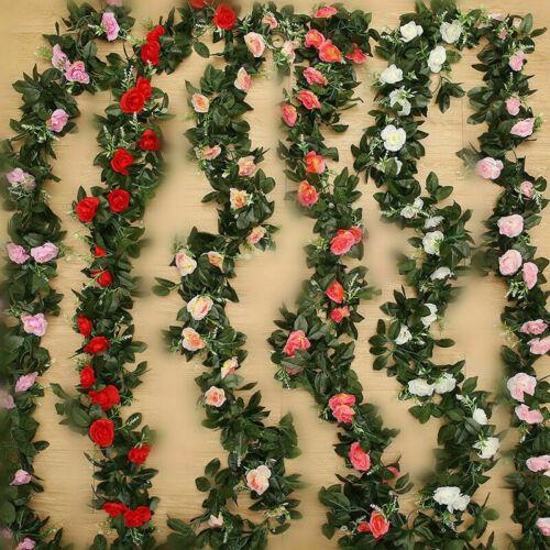 Home Decoration - 8ft Artificial Flower Silk Rose Leaf Garland Vine Ivy Home Wedding Garden Decor
