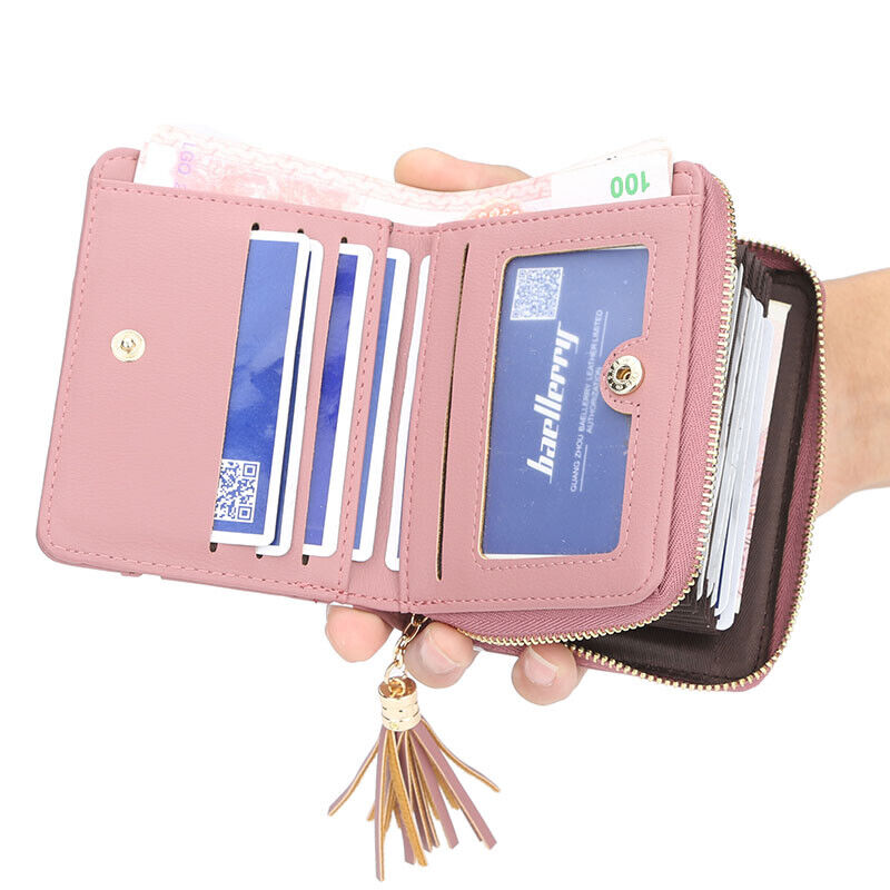 US Women Short Leather Wallet Lady Folding Coin Card Holder Small Money Purse Clothing, Shoes & Accessories