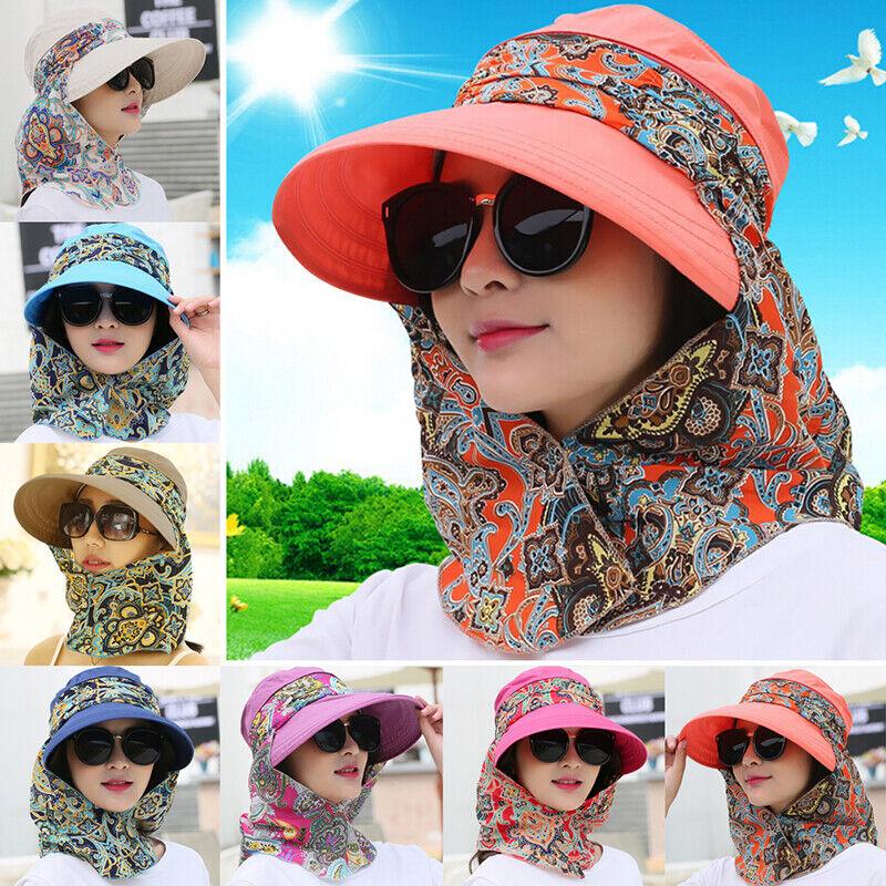 Frauen Faltbare Anti-UV Sonnenhut Gesichtsschutz Hüte Breiter Großer Rand 0U W0H