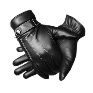 Mens leather gloves thinsulate - Top Quality Mens Sheepskin Lined Black Real Leather Gloves Thinsulate