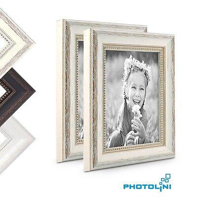 Chic Shabby Stil Weiß Holz (2er Bilderrahmen-Set Landhaus-Stil Holz Shabby-Chic Weiss Braun Foto Rahmen)