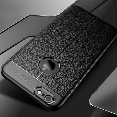 For iPhone 6 Plus 6s Luxury Slim Genuine PU Leather Soft TPU Back Case Cover