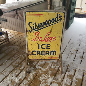 Vintage\Antique Silverwood's ice cream tin sign Stratford Kitchener Area image 1