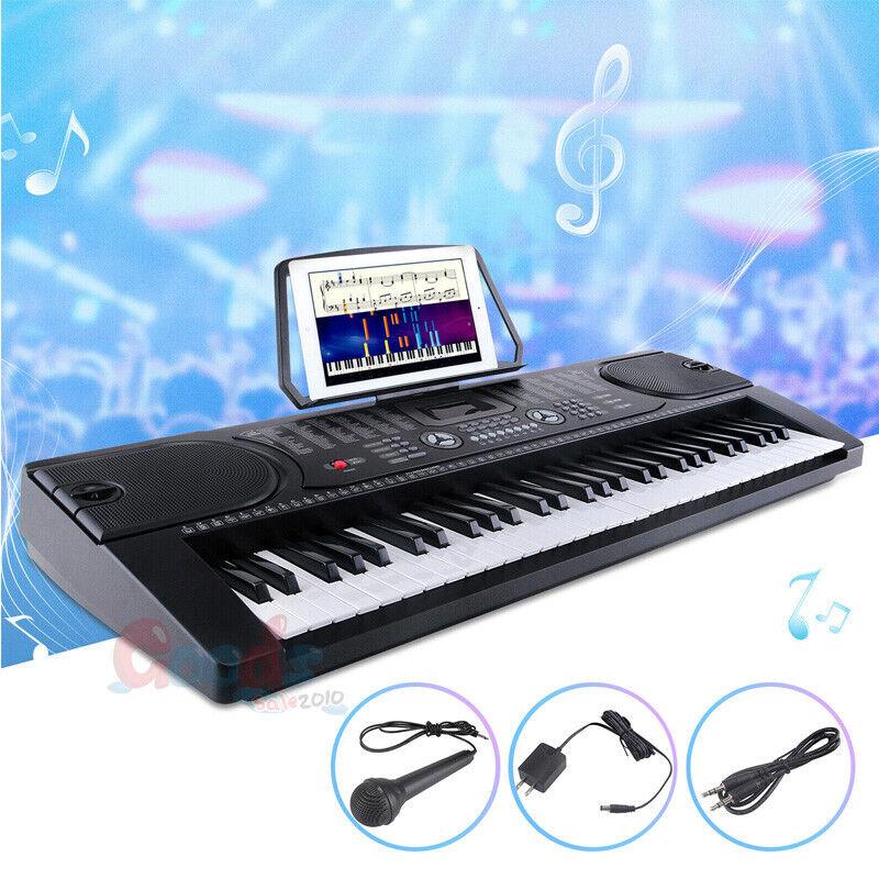 Full Size 61 Keys Light Up Electronic Keyboard Digital Music Piano Microphone