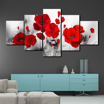 - Red Poppy Flower Poppies 5 panel canvas Wall Art Home Decor Poster Picture
