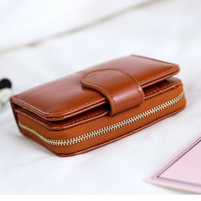 Small Wallets for Women Bifold Leather Zapper Mini Purse Card Case Holder Bag Clothing, Shoes & Accessories