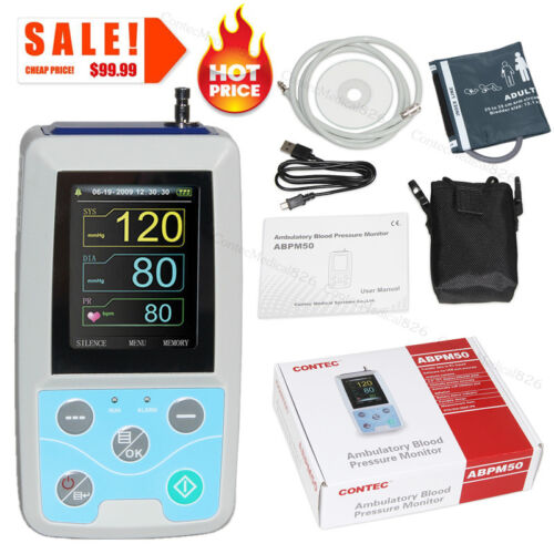Ambulatory Blood Pressure Monitor NIBP Holter ABPM50 USB Software 24 Hour Record