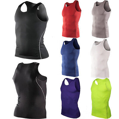 Men Wear Tights - Men Sports Skin Compression Gym Wear Base Layers Tank Tight Vest Tee Shirts Tops
