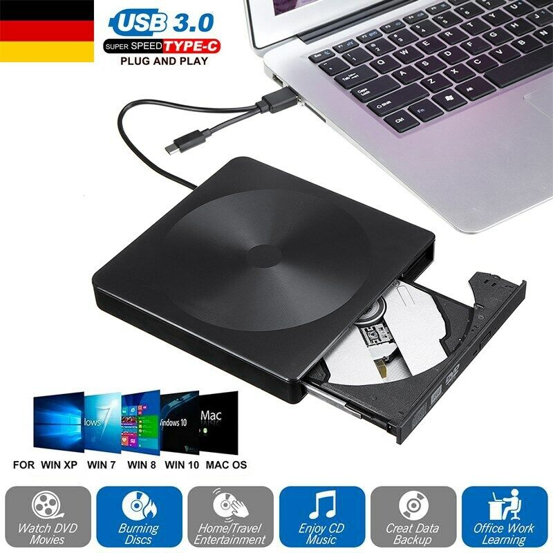 USB 3.0 Type C DVD CD Brenner DVD-RW Laufwerk Drive Extern für PC Laptop MAC