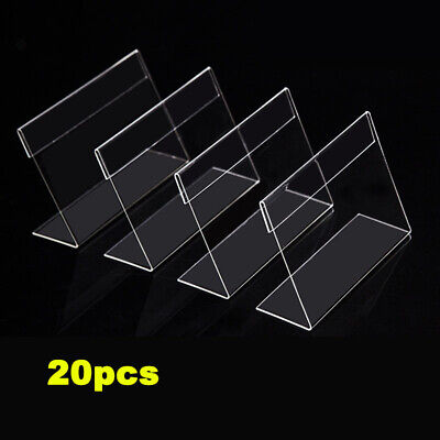 20x Clear Sign Name Card Price Tag Label Holder Slant Display Stand Show Racks