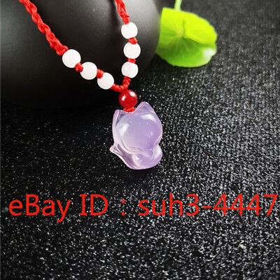 Natural Pink Agate Fox Pendant Fashion Necklace Charm Jewelry Amulet Gifts - Pink Gifts