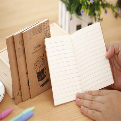 Mini Notebook Kraft Cover Daily Memo Note Pads Stripe Inner Page Paper Products