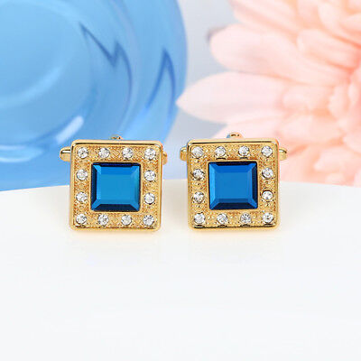 Mens Gold Square Cuff links Saphire Blue Crystal Diamond Shirt Stud Vintage (Diamond Stud Cufflinks)