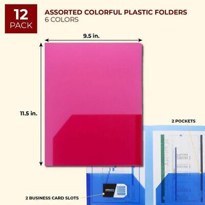 Paper Junkie 12-pack Semi Transparent Pocket Folders 9.5 X 11.5 6 Color