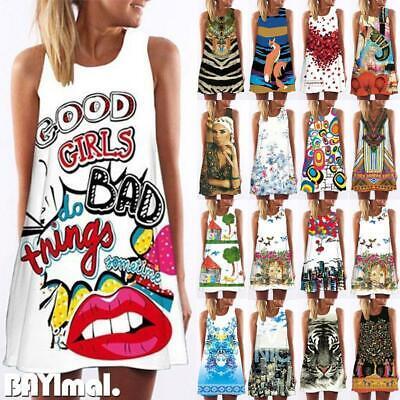 Women Floral Print Sleeveless Mini Dress Ladies Casual Summer Loose A Line Dress