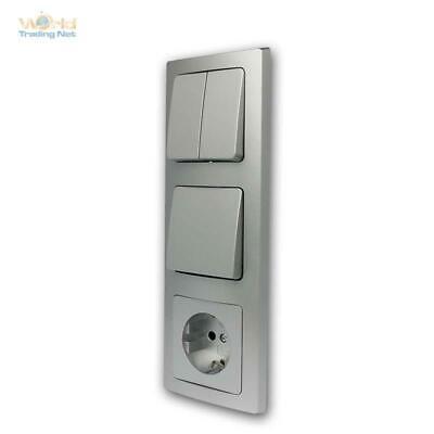250V~// 16A 2x USB Aufbau Steckdose DELPHI 2-fach Steckdosenblock schwarz
