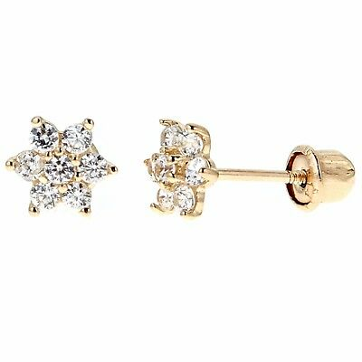 14k Real Yellow Gold Flower Post Stud Screw Back CZ Earrings Kids Small