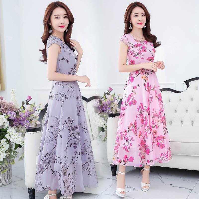 2020 Verano Moda Coreana Elegante Vestido De Impresion De Gasa Temperamento Mas Recientes Ebay