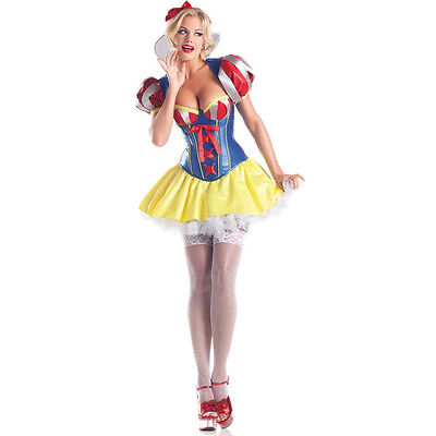 Sexy Adult Halloween Deluxe Sweetheart Snow White Costume Set w Headband