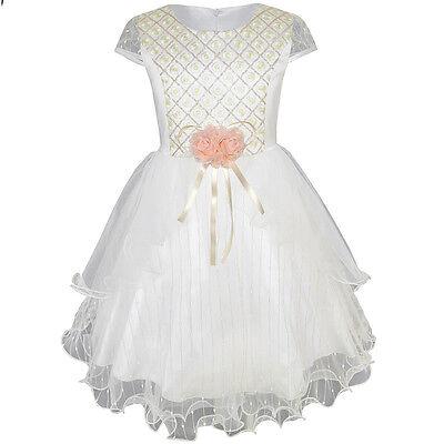 US STOCK Flower Girls Dress Shinning Wedding Pageant Party Dress Size 3-10](Girls Party Dress Size 10)