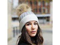 DAYMISFURRY-- White And Grey Wool Beanie Hat With Raccoon Fur Pom Pom