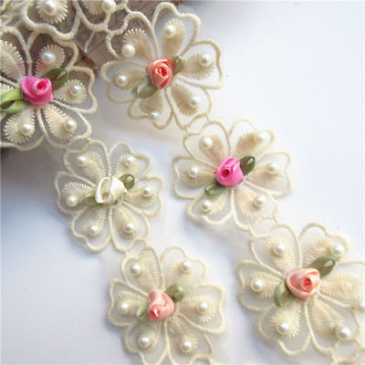 1yd Flower Pearl Lace Edge Trim Wedding Ribbon Embroidered Applique Sewing Craft Pearl Trim
