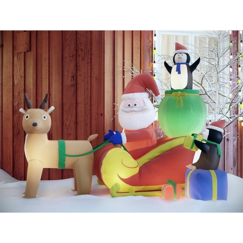 Christmas Inflatable Santa With Reindeer & Penguins Outside Holiday Decor