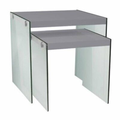 Bowery Hill 2 Piece Nesting Table Set in Glossy White