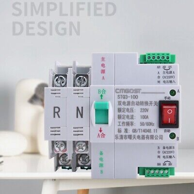 Mini Dual Power Automatic Transfer Switch 2p 100a 220v Generator Pv 30 Ms