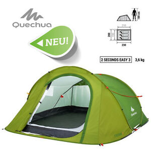 TOP Quechua III EASY Pop Up Camping Zelt Wurfzelt 2 seconds 3 Personen Tent Neu