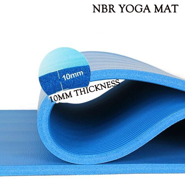 Extra Thick 10mm NBR Yoga Mat Gym Pilates Fitness Exercise Balance Board Blue