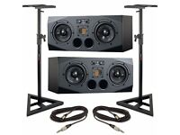 Adam A77X Active Studio Monitors A & B Pair - Black - Incl. Cables & Stands
