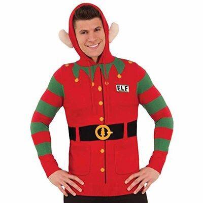 Kapuzenpulli Elfen Pullover mit Ohren Ugly Lustige Weihnachten Urlaub Party - Lustige Weihnachts Party Kostüm