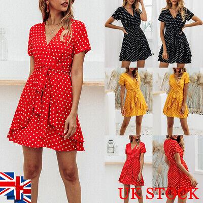 Women Polka Dot V Neck Mini Dress Ladies Summer Beach Holiday Skater Sundress