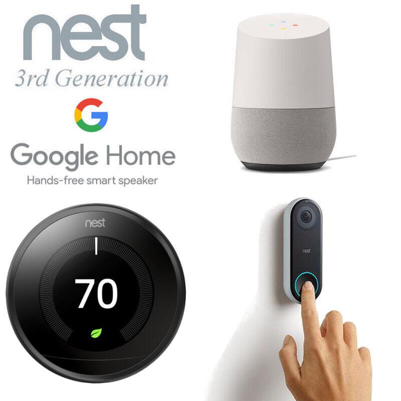 Smart Home Bundle Nest Thermostat + Nest Hello Video Doorbell + Google Home