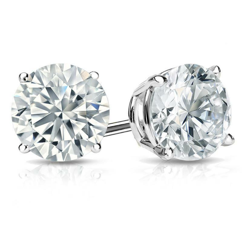 $119.95 - 2 Ct Round Earrings Studs Solid 14K White Gold Brilliant Cut Basket Screw Back