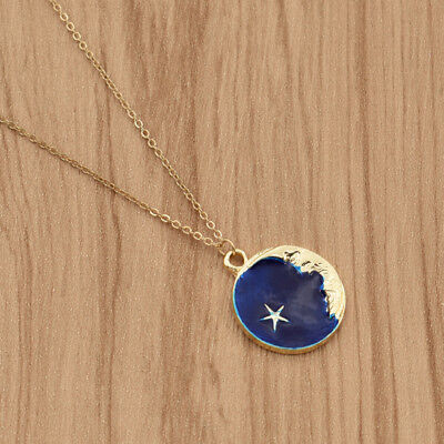 Fashion Blue Moon Star Enamel Pendant Necklace Women Gold Chain Jewelry Charms ()