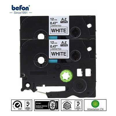 2 Pcs 12mm Label Tape Compatible For Brother Tz Tze-231 Black On White P-touch