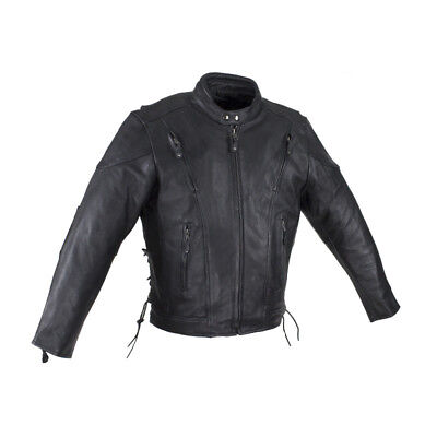 Mens Black Racer Cowhide Leather Motorcycle Jacket with Side Laces & Neck Warmer