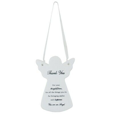 Thank You Ceramic Hanging Guardian Angel With Ribbon Sentimental Gift Idea ()
