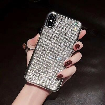 Silver Protective Case (Bling Glitter Crystal Silver Cute Protective Full Diamond Case Cover For)