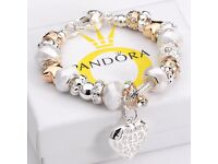 BARGAIN NEW Womens Pandora Fashion Jewellery 925 Solid Silver Bangle Peach Heart Pendant Bracelet