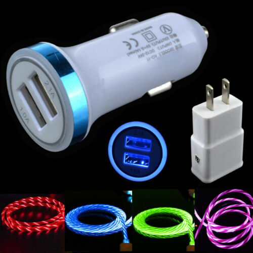 LED Flowing Light Type C Cable & Dual Car Charger & AC Wall