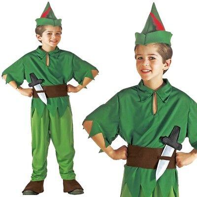 Waldelf Peter Kinder Jungen Kostüm Gr. 158 Robin Hood, Peter Pan, Jäger #8068