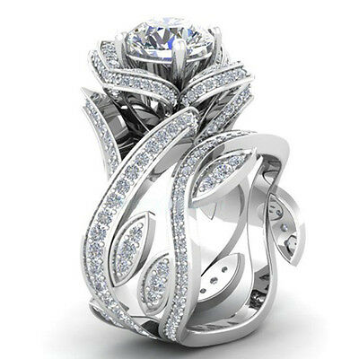 Ring - Fashion Women 925 Silver ,Gold Lotus Flower White Topaz Ring Set Wedding Jewelry
