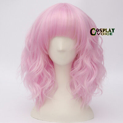 Lolita Pink 35cm Curly Short Party Women Anime Heat Resistant Cosplay Wigs+Cap - Short Pink Wigs