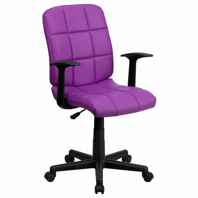 Flash Furniture Faux Leather Swivel Office Chair In Purple