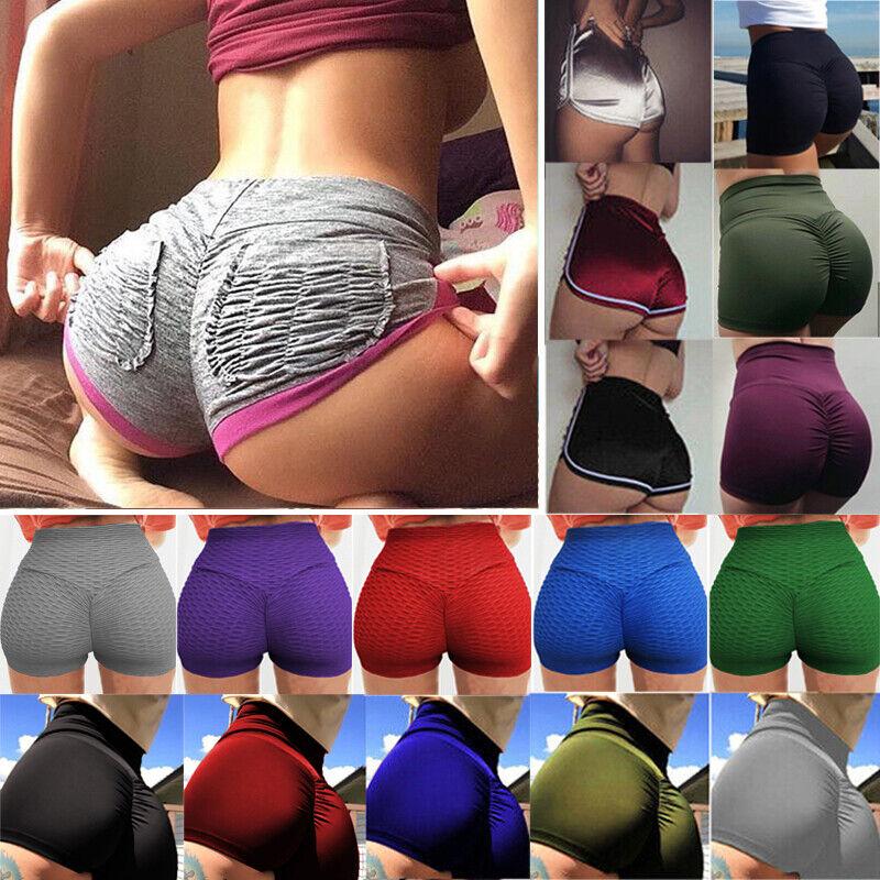 Womens Push Up Yoga Leggings Mini Shorts Fitness Stretch Exercise Gym Trousers