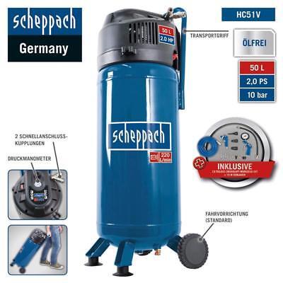 Scheppach Druckluft Kompressor 50L Luftkompressor 10bar 2PS stehend HC51V