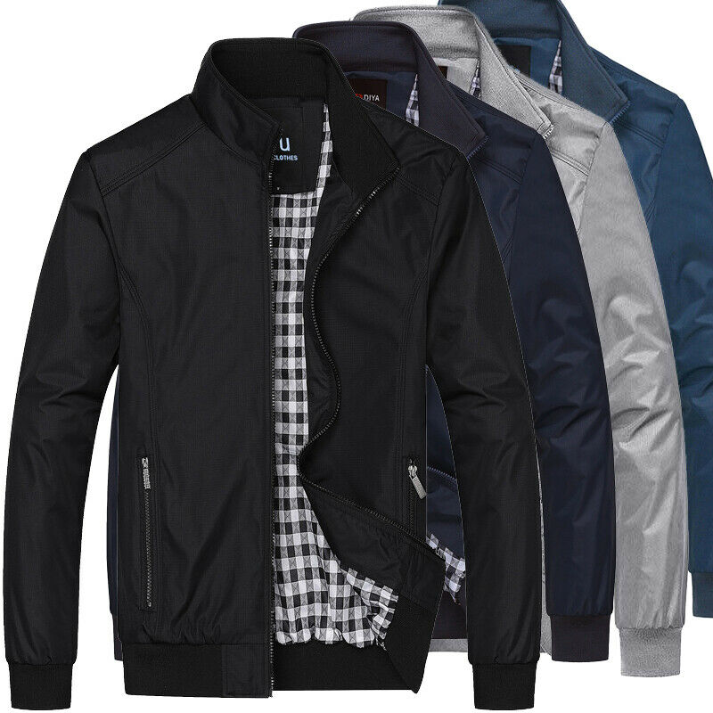 Mens Jacket Summer Lightweight Bomber Coat Casual Outfit Tops Outerwear  M-3XL   eBay